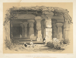 'Interior of the Caves of Elephanta'. Lithograph by Day & Son from Sir Harry Darrell's China, India and the Cape London, 1852